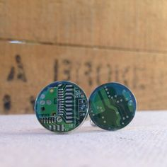 circuit board cufflinks / repurposed computer circuit board / re:circuit by Christine Stoll Jewelry