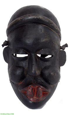 Ibibio Toothy Mask Black Patina Nigeria Africa - Ibibio - African Masks