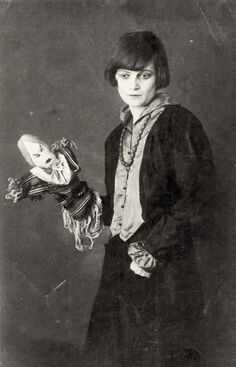 Emmy Hennings with one of her Dada Doll Puppets, Zürich, 1917 Photo: Hans Richter