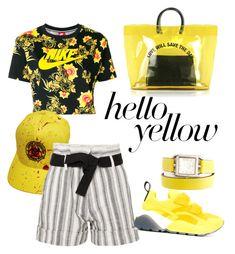 """""""yellow#1"""" by mayaprs on Polyvore featuring NIKE, Vanessa Bruno, STELLA McCARTNEY, Hermès, Dsquared2, PopsOfYellow and NYFWYellow"""