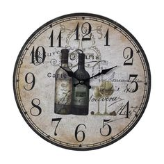 "Sterling Industries 118-032 Sterling 13"" Height Wine Bottles Wall Clock Multi Home Decor Clocks Wall Clocks"