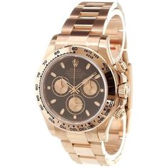 Rolex 'Cosmograph Daytona' analog watch (€43.020) ❤ liked on Polyvore featuring jewelry, watches, gold, rolex wrist watch, unisex jewelry, unisex watches, analog watch and shoulder chain jewelry