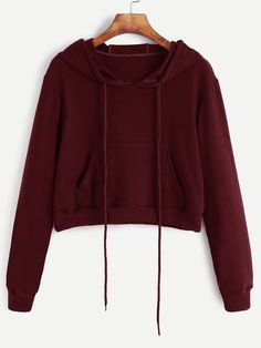 Burgundy Drawstring Hooded Crop Sweatshirt With Pocket
