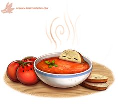 Daily Paint #1083. Tomato Soup by Cryptid-Creations.deviantart.com on @DeviantArt