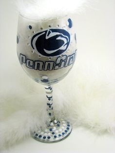 Penn State wine glass
