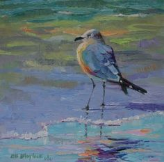 SEAGULL SMILING IN THE SUNSHINE, original painting by artist Elizabeth Blaylock | DailyPainters.com