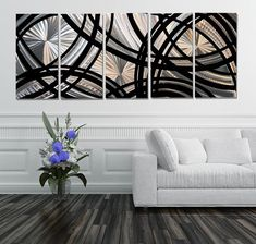 Silver & Black Abstract Painting, Metal Wall Art, Multi Panel Wall Art, Large Artwork, Wall Hanging - Fast and Furious XL by Jon Allen Abstract Metal Wall Art, Black Abstract, Painting Metal, Metal Art, Metal Wall Sculpture, Wall Sculptures, Hand Painted Walls, Metal Walls, Panel Wall Art