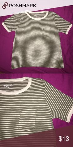 Green crop top This is a army green striped crop top from JCPenney. Size medium. Could fit as a regular shirt depending on how short your torso is. Has a pocket on the front. jcpenney Tops Crop Tops
