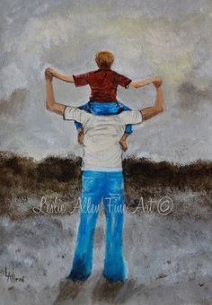 "Father Son Painting Daddy Son Daddy Little Boy Brother Sibling Dads Buddy ""Daddy's Little Man"" Leslie Allen Fine Art"