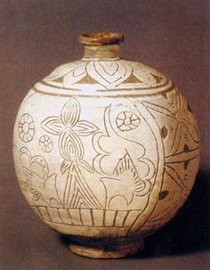(Korea) Buncheong ware Round Bottle with Incised Design. ca 15th century CE. Joseon Kingdom, Korea.