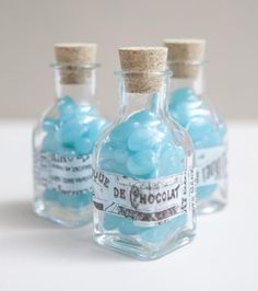 Candy in jars as inexpensive wedding favors. Perfect For Brides On A Budget.  http://djrockinsteve.com/entry.php?50-Inexpensive-Wedding-Favors-Simple-Wedding-Favors-On-A-Limited-Budget