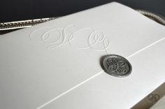 Elegant modern grey wax seal wedding invitation