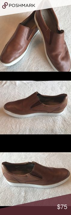 Hush Puppies Men's Tucker Nicholas Sz 13 Loafers Rust brown leather with white soles.  Sz 13M. EUC. Like new Hush Puppies Shoes Loafers & Slip-Ons
