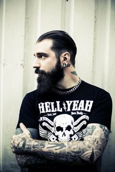 full thick black beard and mustache beards bearded man men mens' style tattoos tattooed #beardsforever