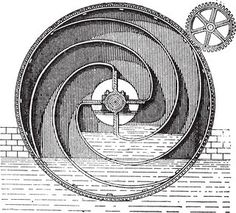 Turbine wheel, vintage engraving