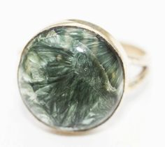 Metaphysical Gifts, Cards, Wrap and Crystals | Life Is A Gift Shop - Siberian Seraphinite Round Cabochon Size 7 Ring - stone of angels and joy, $50.00 (http://lifeisagiftshop.com/siberian-seraphinite-round-cabochon-size-7-ring-stone-of-angels-and-joy/)