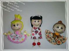 Broches muñequitas en goma eva https://www.facebook.com/KioscoRebelguinos