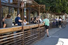 Four Barrel Parklet, 375 Valencia Street (between and streets). Manicures, Pocket Park, Pub Decor, Urban Setting, Brew Pub, Outdoor Seating, Design Firms, Outdoor Activities, Facades