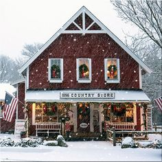 Country Store during a winter snow ( gif )