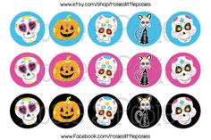 Sugar Skull Bottle Cap Image Sheet Day of by RosiesLittlePosies, $1.75