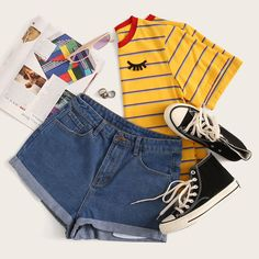 To find out about the Cuffed Hem Denim Shorts at SHEIN, part of our latest Denim Shorts ready to shop online today! Trendy Outfits, Summer Outfits, Cute Outfits, Fashion Outfits, Yellow Outfits, Womens Fashion Online, Latest Fashion For Women, Cooler Stil, Denim Shorts