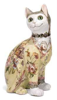 Another Emile Gallé Faience Model of a Cat (c 1900). Large (34 cm). Sold for £5,625 by Christie's (Feb 2011).