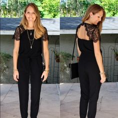 Lace jumpsuit Lace jumpsuit with open back tie waist. Loft - FP for exposure . Worn once! Very pretty Free People Dresses