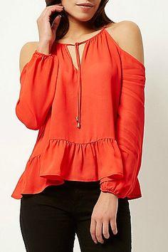 cc2fd1c9666 Red cold shoulder peplum top £28.00 #JustArrived #RiverIsland Fashion Now,  Womens Fashion