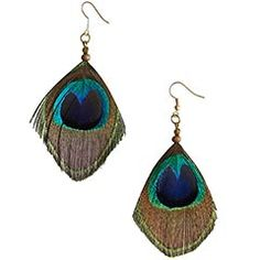 "Peacock Feather Earrings    $8  ""Who is that stunning woman wearing the peacock earrings?"" You realize they're talking about you. And you smile proudly, to yourself.        Multicolor      1.5""W x 3.75""H      Feathers, iron      Exclusively Pier 1 Imports"