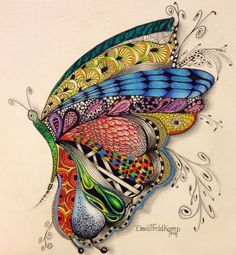 Colored butterfly zentangle-drawing by David Feldkamp. Zentangle Drawings, Doodles Zentangles, Zentangle Patterns, Art Drawings, Art Papillon, Tangle Art, Inspiration Art, Wow Art, Art Plastique