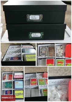 How to Organize Board Games. This uses plastic drawers and gets rid of board game boxes.