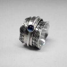 Anillo de plata esterlina Houndstooth Spinner por janiceartjewelry