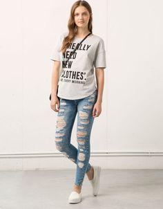Bershka Colombia - Jeans Bershka pitillo rotos