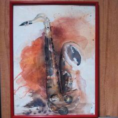 #saxophone #pop #ancien #encadrement #aquarelle #watercolor by mily_boots_creation