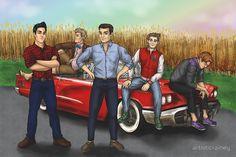 'Five Bros, One Car' Sticker by artisticrainey Thunderbirds Are Go, Sonic Art, Ford Thunderbird, First Car, Back Home, Cute Art, Fangirl, Hero, Deviantart