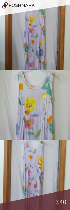 "Jams wold women size medium water flower sundress Barely worn, sleeveless, two side pockets, lavender, orange, green, yellow, periwinkle, coral, olive and white pattern, rayon, chest 40"", length 49"", jams world Dresses"
