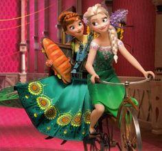 Anna y Elsa,en bicicleta.Frozen Fever