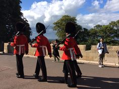 Redcoats on patrol at Windsor Castle - These are The Coldstream Guards.