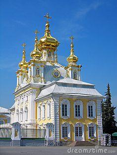 Iglesia ortodoxa, parte del Palacio Grande. Peterhof Rusia