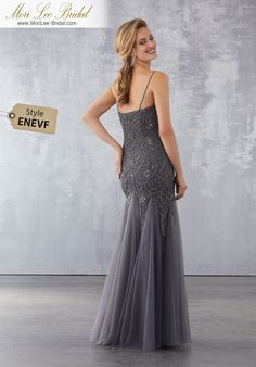 Soft Net Social Occasion Dress with Gunmetal Beading Gunmetal Beading on Soft Net. Matching Bolero Jacket.  71736