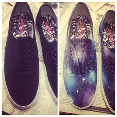 DIY galaxy shoes! :D so easy and SUPER CUTE. Used acrylic paints and regular house sponges, then used a toothbrush to splatter the stars!