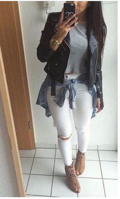 Leather Jacket x White Slit Knee Skinny Jeans.