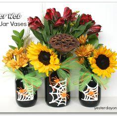 Spooky Spider Web Mason Jar Vases