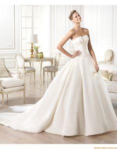 2015 A-linie Trägerlose Einfache Brautkleider aus Taft mit Schleppe