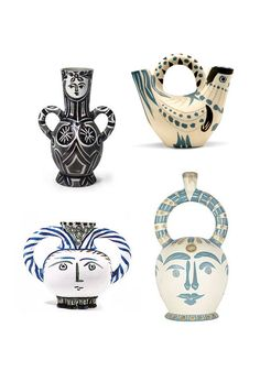 Picasso for the Madoura Pottery in Spain - White earthenware clay with decoration in engobes in blue, black and grey and engraved by knife
