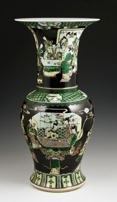 """Chinese Kangxi Period Famille Verte Zun Vase, Qing Dynasty, decorated with groups of figures playing board games, Kangxi Period (1662-1722), 18"""" h."""