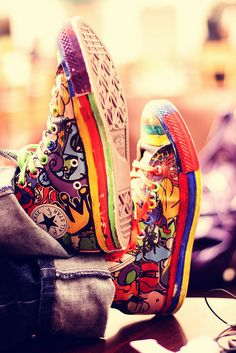 Multi-coloured Converse sneaker. It's as if that person stepped into a rainbow.