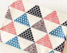 Colorful Geometric Triangle Linen Cotton Fabric in by Gideonstudio