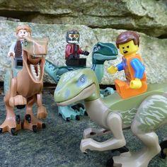 Chris Pratt Lego trinity: Owen, Peter, and Emmet. Dontcha bet they ride velociraptors! #lego #threeinone #owen #starlord #peterquill #emmet #velociraptor #raptor #chrisprattiseverywhere