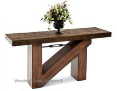 Rustic Chic Console with Beam Base & Metal Top by Woodland Creek Furniture.  Available in Custom Sizes.